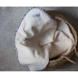 Cape de bain bébé écru brodée CHAT