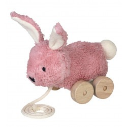 Jouet à tirer lapin rose