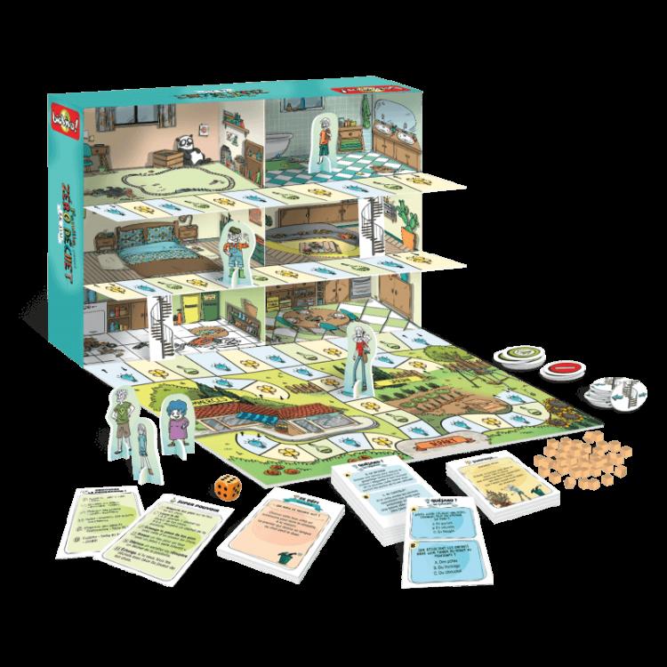jeu de société zero déchet, sensibilisation au zero déchet par le jeu pour les enfants et famille en vente chez emeu.